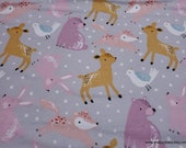 Flannel Fabric - Bear and Friends with Dots on Gray - By the Yard - 100% Cotton Flannel