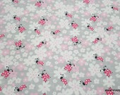 Flannel Fabric - Ladybug Floral Light Gray - By the yard - 100% Cotton Flannel