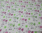 Flannel Fabric - Birdies Pink on White - By the yard - 100% Cotton Flannel
