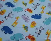 Flannel Fabric - Visit to the Zoo - By the yard - 100% Cotton Flannel