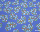 Flannel Fabric - Heart Paw Cluster on Blue - By the yard - 100% Cotton Flannel
