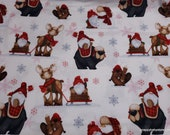 Christmas Premium Flannel Fabric - Gnomies Gnomes and Reindeer Premium - By the yard - 100% Premium Cotton Flannel