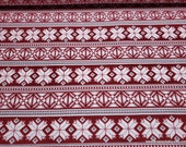 Christmas Flannel Fabric - Red Fair Isle - By the yard - 100% Cotton Flannel