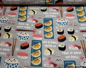 Flannel Fabric - Sushi Talk - By the yard - 100% Cotton Flannel