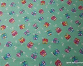 Flannel Fabric - Winking Owls Teal - By the yard - 100% Cotton Flannel