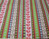 Flannel Fabric - Woodland Animal Stripe Pink - By the Yard - 100% Cotton Flannel