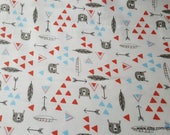 Flannel Fabric - Be Brave Turquoise Red - By the yard - 100% Cotton Flannel