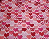 Flannel Fabric - Animal Print Hearts Love - By the yard - 100% Cotton Flannel