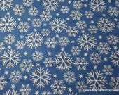 Christmas Flannel Fabric - Snowflakes on Blue - By the yard - 100% Cotton Flannel