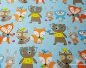 Flannel Fabric - Forest Animals on Blue - By the yard - 100% Cotton Flannel
