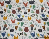 Flannel Fabric - Australian Animal Facts - By the yard - 100% Cotton Flannel