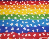 Flannel Fabric - Heart Rainbow - By the yard - 100% Cotton Flannel