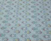 Flannel Fabric - Light Blue Fish - By the yard - 100% Cotton Flannel