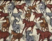 Flannel Fabric - Running Horses Cream - By the yard - 100% Cotton Flannel