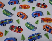 Flannel Fabric - Bright Campers - By the Yard - 100% Cotton Flannel