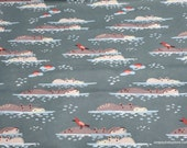 Flannel Fabric - Watercolor Jungle Hippo - By the yard - 100% Cotton Flannel