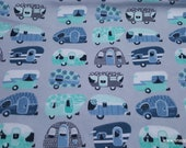 Flannel Fabric - Camping on Gray - By the Yard - 100% Cotton Flannel