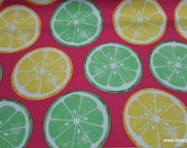 Flannel Fabric - Lemons and Limes Slices - By the yard - 100% Cotton Flannel