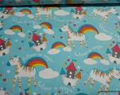 Flannel Fabric - Believe in Magic Unicorns Rainbows - By the yard - 100% Cotton Flannel