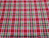 Christmas Flannel Fabric - Christmas Tartan Plaid - By the yard - 100% Cotton Flannel
