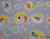 Flannel Fabric - Happy Moon Animals - By the yard - 100% Cotton Flannel