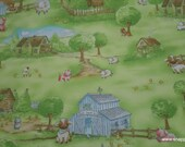 Flannel Fabric - Farm Scenic Premium - By the yard - 100% Premium Cotton Flannel