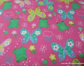 Flannel Fabric - Frogs & Butterflies - By the yard - 100% Cotton Flannel