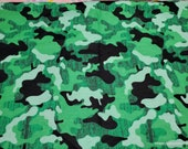Flannel Fabric - Green and Black Camo - By the yard - 100% Cotton Flannel
