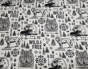 Flannel Fabric By the yard 100/% Cotton Flannel Sunglasses on Wolves
