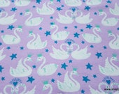Flannel Fabric - Swan Princess - By the yard - 100% Cotton Flannel
