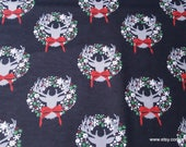Christmas Flannel Fabric - Stag Head with Wreath - By the yard - 100% Cotton Flannel