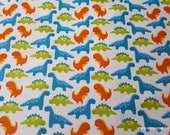 Flannel Fabric - Dinosaur Friends - By the Yard - 100% Cotton Flannel