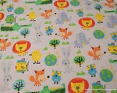 Flannel Fabric - Big Zoo Blue - By the yard - 100% Cotton Flannel
