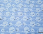 Flannel Fabric - Kai Whales - By the yard - 100% Cotton Flannel