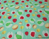 Flannel Fabric - Happy Fruit - By the yard - 100% Cotton Flannel