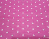 Flannel Fabric - Dots Pink Carnation - By the Yard - 100% Cotton Flannel