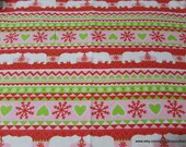 Christmas Flannel Fabric - Fair Isle Polar Bear - By the yard - 100% Cotton Flannel