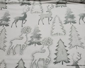 Flannel Fabric - Deer and Trees Outline - By the yard - 100% Cotton Flannel