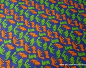 Flannel Fabric - Orange Green Dinos - By the yard - 100% Cotton Flannel
