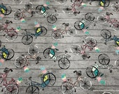Flannel Fabric - Bikes on Wood - By the yard - 100% Cotton Flannel