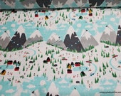Flannel Fabric - Winter Ski Lodge - By the yard - 100% Cotton Flannel