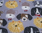 Flannel Fabric - Sketched Dog Faces - By the yard - 100% Cotton Flannel