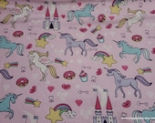 Flannel Fabric - Unicorn Castle Pink - By the yard - 100% Cotton Flannel