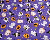Flannel Fabric - Halloween Cats  - By the Yard - 100% Cotton Flannel
