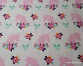 Flannel Fabric - Bright Unicorns Floral - By the yard - 100% Cotton Flannel