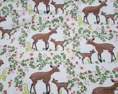 Flannel Fabric - Petunia Deer - By the yard - 100% Cotton Flannel