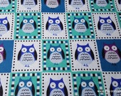 Flannel Fabric - Framed Owl Patch - By the yard - 100% Cotton Flannel