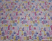 Flannel Fabric - Pink ABCs - By the yard - 100% Cotton Flannel