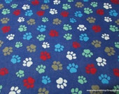 Flannel Fabric - Paws Prints on Blue - By the yard - 100% Cotton Flannel