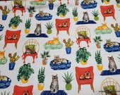 Flannel Fabric - Lounging Cats - By the yard - 100% Cotton Flannel